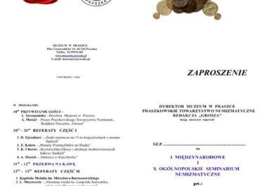 X Ogólnopolskie i I Międzynarodowe Seminarium Numizmatyczne – Numizmatyka Śląska 20.09.2014