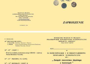 XI Ogólnopolskie i II Międzynarodowe Seminarium Numizmatyczne – Związki mennictwa śląskiego z koronnym 19.09.2015